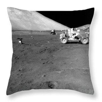 Apollo 17 Image Of Land Rover On Moon Throw Pillow by Stocktrek Images