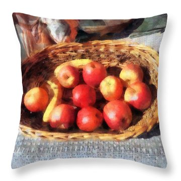 Apples And Bananas In Basket Throw Pillow by Susan Savad
