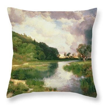 Approaching Storm Throw Pillow by Thomas Moran