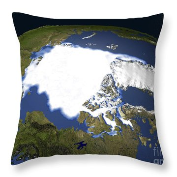 Arctic Sea Ice, 1979 Throw Pillow by NASA / Science Source