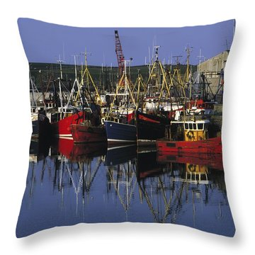 Ardglass, Co Down, Ireland Fishing Throw Pillow by The Irish Image Collection