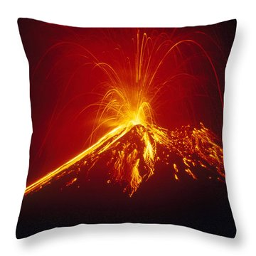 Arenal Volcano Erupting Throw Pillow by Gregory G. Dimijian