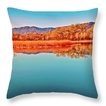 Arizona Dead Horse State Park Throw Pillow by Bob and Nadine Johnston