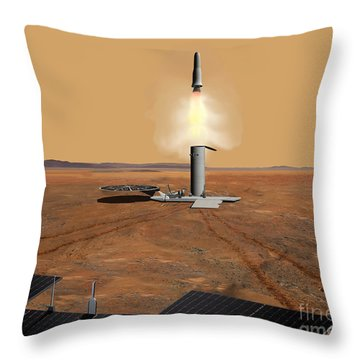 Artists Concept Of An Ascent Vehicle Throw Pillow by Stocktrek Images