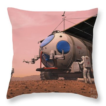 Artists Concept Of How A Martian Throw Pillow by Walter Myers