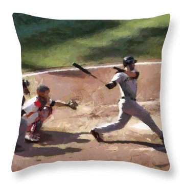 At Bat Throw Pillow by Lynne Jenkins