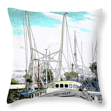 At The Dock Throw Pillow by Barry Jones