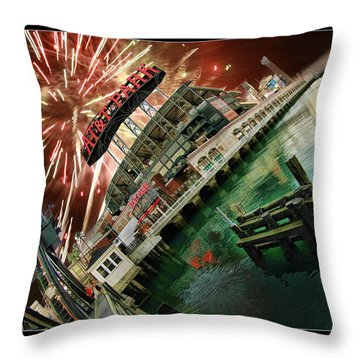 Att Park And Fire Works Throw Pillow by Blake Richards