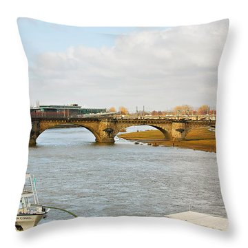 Augustus Bridge Dresden Germany Throw Pillow by Christine Till