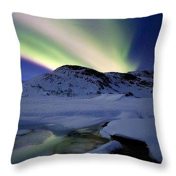 Aurora Borealis Over Mikkelfjellet Throw Pillow by Arild Heitmann