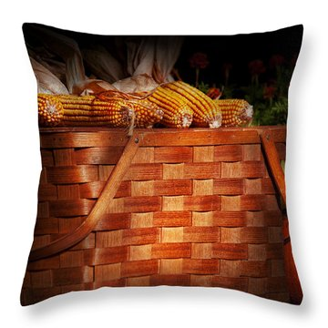 Autumn - Gourd - Fresh Corn Throw Pillow by Mike Savad