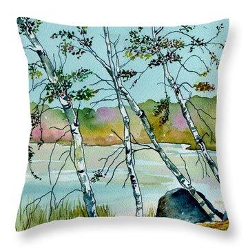 Autumn Birches Throw Pillow by Brenda Owen