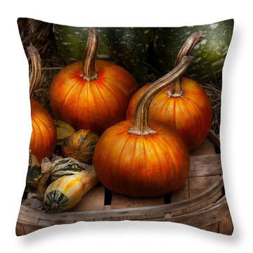 Autumn - Gourd - Pumpkins And Some Other Things  Throw Pillow by Mike Savad