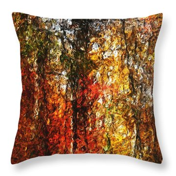 Autumn In The Woods Throw Pillow by David Lane