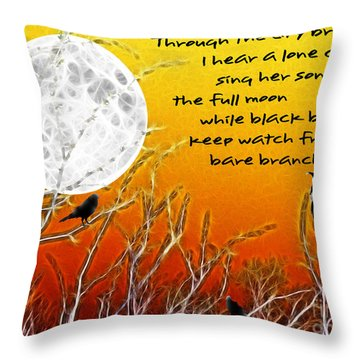 Autumn Moon Throw Pillow by Methune Hively