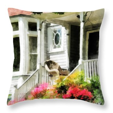 Azaleas By Porch With Wicker Chair Throw Pillow by Susan Savad