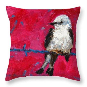 Baby Bird On A Wire Throw Pillow by Patricia Awapara