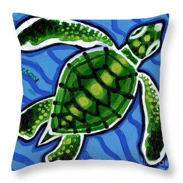 Baby Green Sea Turtle Throw Pillow by Genevieve Esson