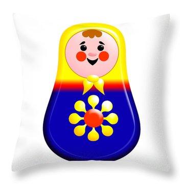 Baby Matrioshka Doll  Throw Pillow by Zaira Dzhaubaeva