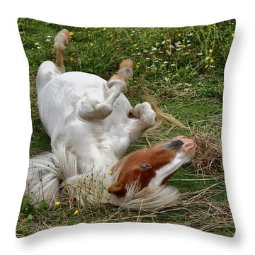Back Scratching Throw Pillow by Karol Livote