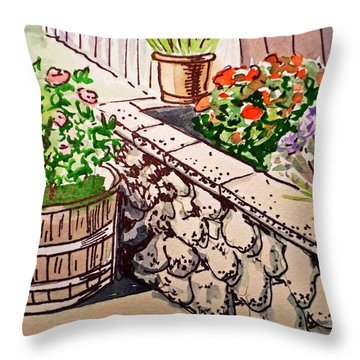 Backyard Sketchbook Project Down My Street Throw Pillow by Irina Sztukowski
