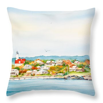 Bakers Island Lighthouse In Autumn Watercolor Painting Throw Pillow by Michelle Wiarda