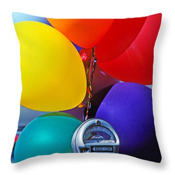 Balloons Tied To Parking Meter Throw Pillow by Garry Gay