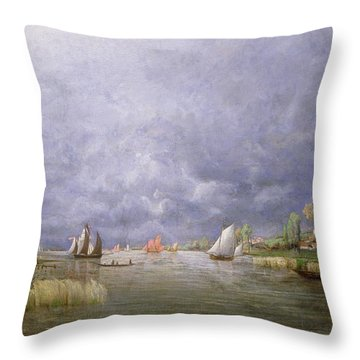 Banks Of The Loire In Spring Throw Pillow by Charles Leroux