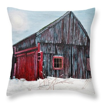 Barn In Snow Southbury Ct Throw Pillow by Stuart B Yaeger