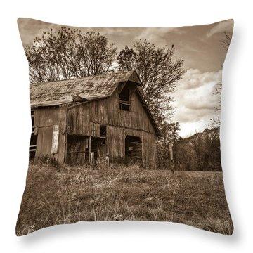 Barn In Turbulent Sky Throw Pillow by Douglas Barnett
