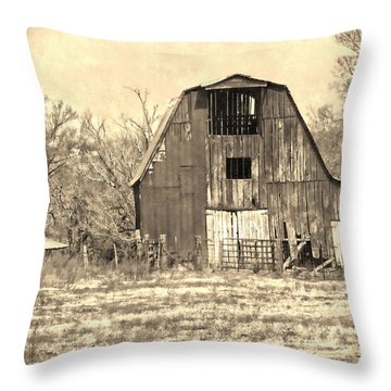 Barn-sepia Throw Pillow by EricaMaxine  Price