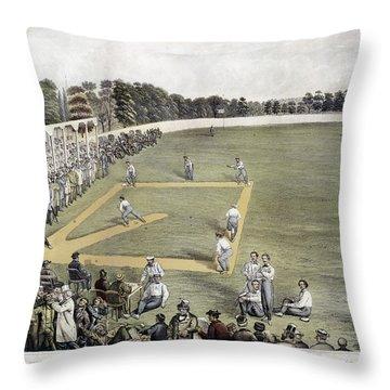 Baseball, 1866 Throw Pillow by Granger