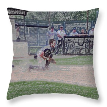 Baseball Runner Safe At Home Digital Art Throw Pillow by Thomas Woolworth