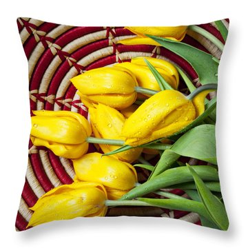 Basket Full Of Tulips Throw Pillow by Garry Gay