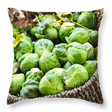 Basket Of Brussels Sprouts Throw Pillow by Elena Elisseeva