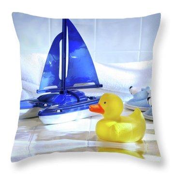 Bathtime Fun  Throw Pillow by Sandra Cunningham