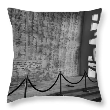 Battleship Arizona Memorial Wall - Pearl Harbor Hawaii Throw Pillow by Daniel Hagerman