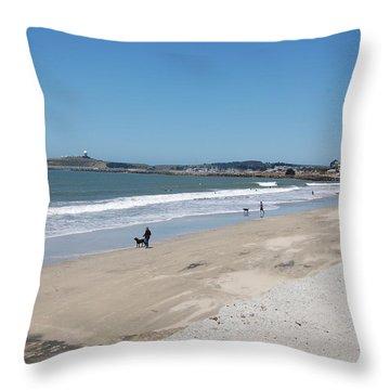 Beach At El Granada Throw Pillow by Carolyn Donnell