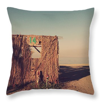 Beach Hut Number Fourteen Throw Pillow by Laurie Search