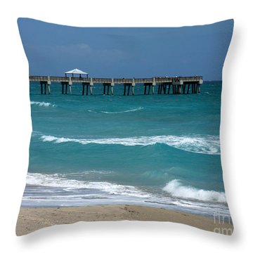 Beautiful Day At The Beach Throw Pillow by Sabrina L Ryan