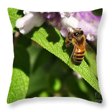 Bee At Work Throw Pillow by Kaye Menner