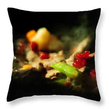 Beef With Vegetables Throw Pillow by Rebecca Sherman