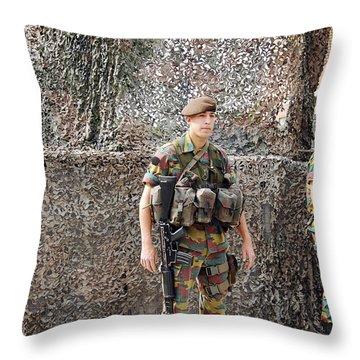 Belgian Soldier On Guard Throw Pillow by Luc De Jaeger