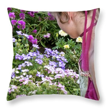 Belle In The Garden Throw Pillow by Angelina Vick