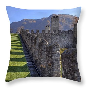 Bellinzona - Castelgrande Throw Pillow by Joana Kruse