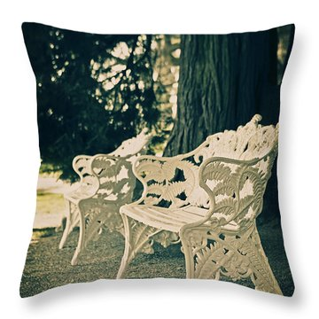 Benches Throw Pillow by Joana Kruse