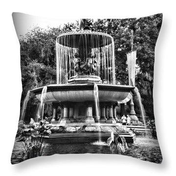 Bethesda Fountain Throw Pillow by Paul Ward
