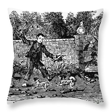 Bewick: Boy With Dogs Throw Pillow by Granger