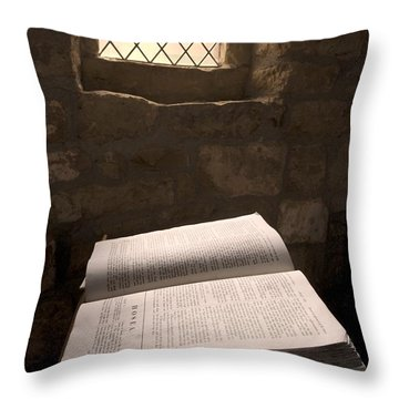 Bible In A Church, Rosedale, North Throw Pillow by John Short