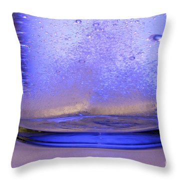 Bicarbonate Of Soda Dissolving In Water Throw Pillow by Photo Researchers, Inc.